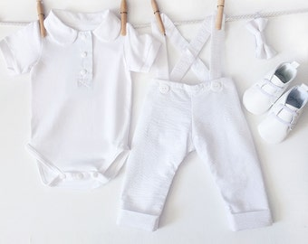 Baby Boy Christening Outfit, 4 Piece White Baptism Outfit, Infant Christening, Baptismal Outfit, Baby Boy Baptism, Dedication Outfit
