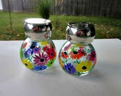 Salt and Pepper Shakers, Hand Painted Colorful Flowers, Set of 2 Painted Glass Shakers