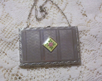Antique Vanity Purse - Compact with Guilloche - 1920s