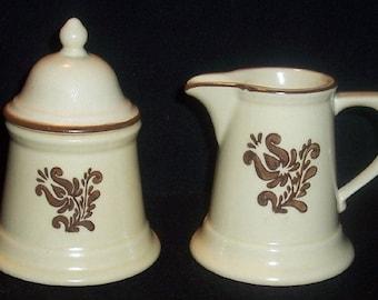 Vintage PFALTZGRAFF VILLAGE Stoneware Covered Sugar & Creamer~USA