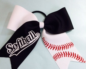 Softball Hair Bow... White & Black...Cheer Style...Free Shipping