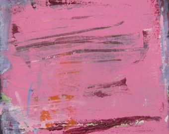 Pink Abstract Art Original Gift Painting, 8 x 8 inches