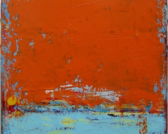 Orange Painting Large Original Abstract Landscape, 24 x 24 inches, by Francine Ethier