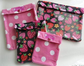 Ouch Pouch The Collection 4 Sizes 'Clear Pocket' Purse / Diaper Bag Inserts Luggage Organizers Meds & Toiletries - Strawberry Gift Set