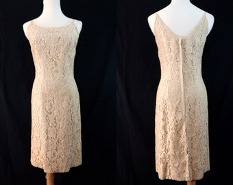 1960s Lace Wiggle Dress Champagne Cocktail VLV Jr Theme Small Illusion Sleeveless Knee Length