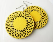 Large Yellow Wooden Circle Earrings