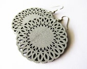 Silvery Grey Lace Edged Wooden Circle Earrings . Lazer Cut