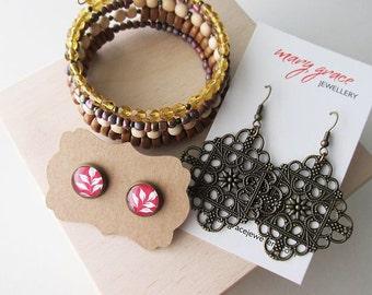 Earthy Rustic Bohemian Bracelet and Earrings Jewellery Set