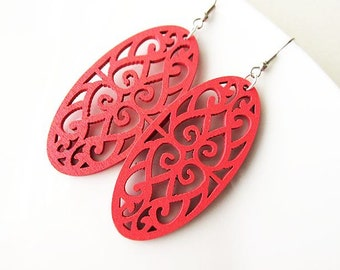Pink Elongated Wooden Filigree Earrings, Bright Colourful Long Earrings, Spring Summer Accessories