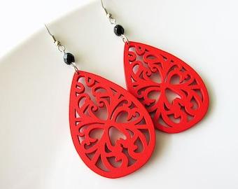 Red Wooden Teardrop Filigree Earrings with Black Glass Beads. Lazer Cut Wood. Wooden Jewellery
