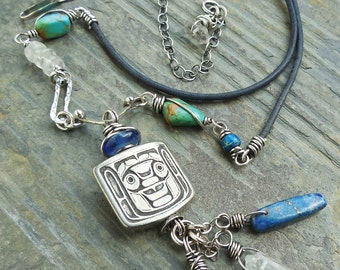 Pewter Warrior Totem Pendant with Turquoise, Lapis, and Clear Quartz