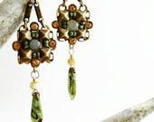 Green Bead Micro Mosaic Tribal Earrings, Adventurine, Gemstone, Boho, Ethnic, Dagger, Rustic, Gipsy, Hippie, Square, PIcasso