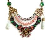 Tribal Statement Necklace, Beaded, Silk Tassel, Mint Green, Micro Mosaic, Bib Necklace, Pink, Fuchsia,
