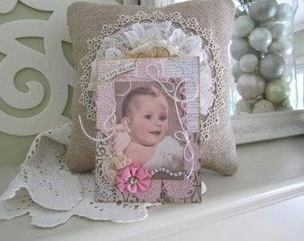 Handmade Baby Girl Card - Vintage-style Baby Girl - Welcome New Baby Girl