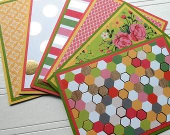 Blank Notecard Set - 6 Different Cards with Matching Embellished Envelopes - Hello Darling
