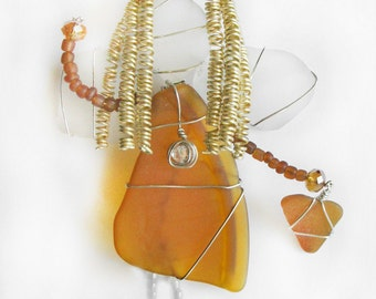 Amber Sea Glass Angel Ornament or Suncatcher, Made from Vintage Car Fog Light Lens