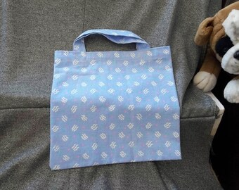 Book Lunch N Small Gift Tote Bag, Waves on Blue Print