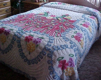 1930'- 40's double peacock chenille bedspread- with some flaws
