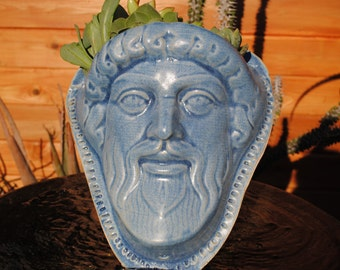 ceramic face planter garden art mask wall planter head planter SALE