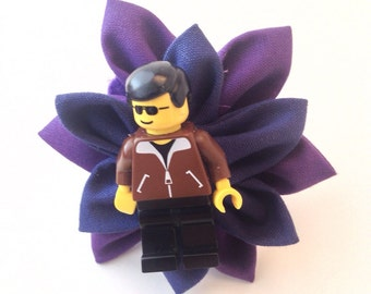 Royal Purple and Navy Blue Lego Guy Boutonniere - Wedding boutonniere - Ring Bearer boutonniere - Groom boutonniere- Geek Wedding