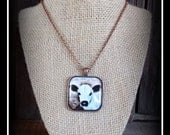 White Galloway Calf Pendant With Necklace Chain