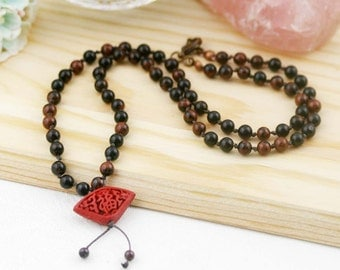 Strength and fortune necklace (unisex) -  mahogany obsidian and cinnabar
