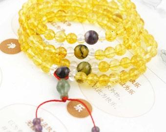 Pacifying 108 small japa mala (SJM) - citrine, amethyst, quartz and agate.