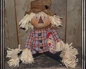 Primitive folk art hand embroidered scarecrow raffia hair straw polka dot chicken HAFAIR haguild OFG country style faap