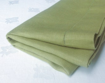 Square Green Linen Tablecloth Hem Stitched 50 x 52