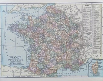 Small vintage Map of France 1899