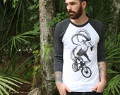 Baseball Tee  - Goat on a Bicycle - American Apparel