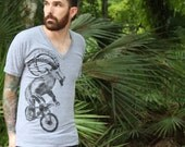 Unisex Vneck Tshirt  - Goat on a Bicycle - American Apparel