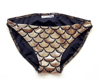 Mermaid Bikini Bottoms GOLD // Fish Scale Low Rise Swim Suit Bottoms