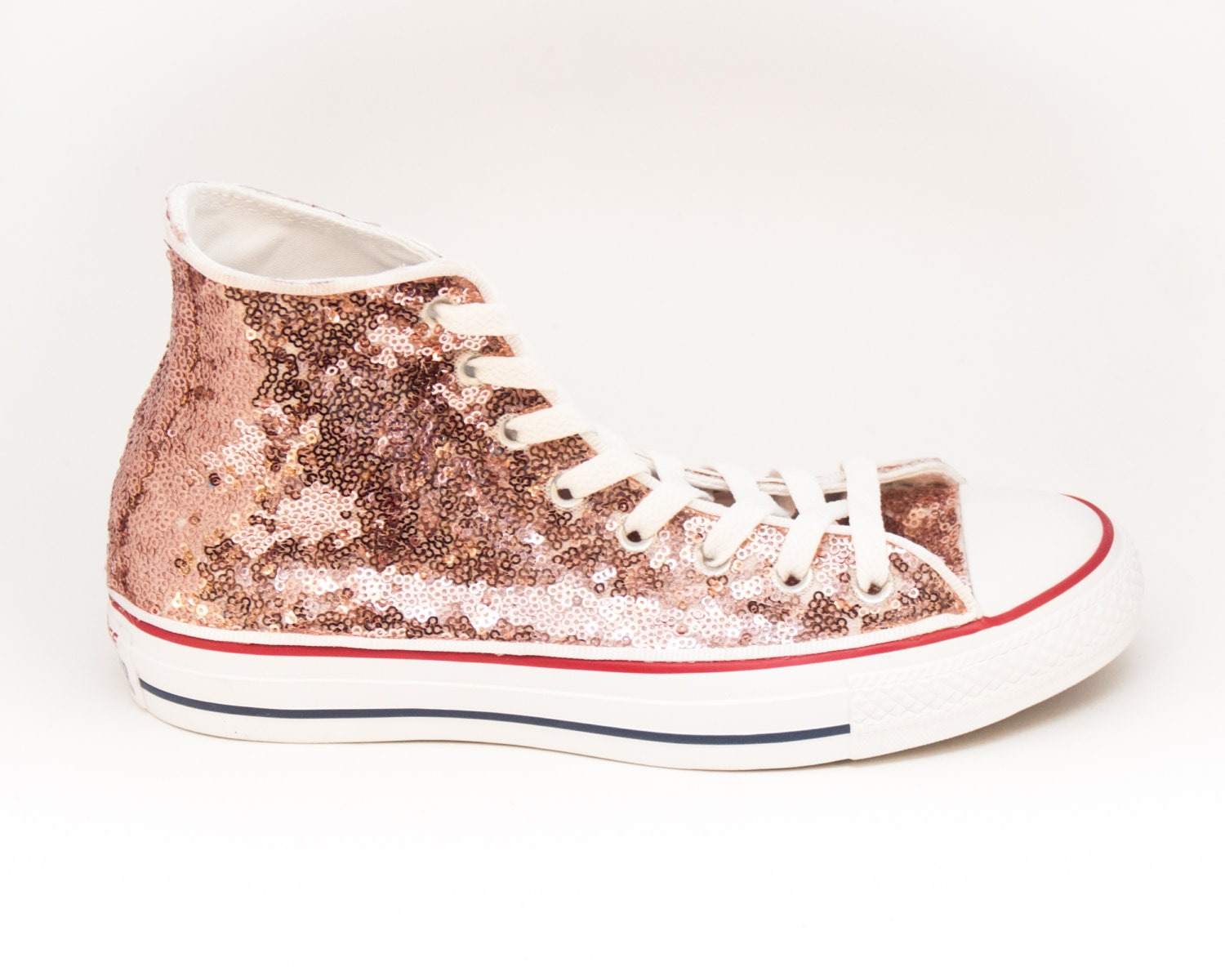 sequin rose gold canvas customized converse by princesspumps. Black Bedroom Furniture Sets. Home Design Ideas