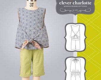 Clever Charlotte Tulip Top & Bermuda Shorts Adorable Sewing Pattern 2- 8 yrs.