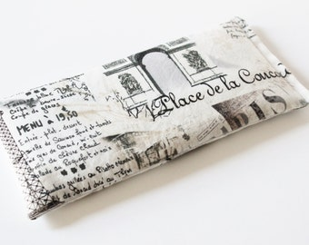 Lavender Eye Pillow - Cotton Anniversary Gift for Women - Romantic Dreamy Paris Icons - Yoga Spa Pillow - Relaxation Gift
