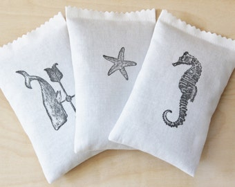Lavender Scented Drawer Sachets, Minimalist Nautical Decor, Sperm Whale Starfish Seahorse