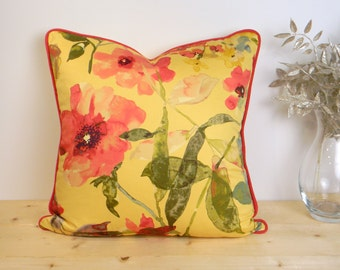Yellow & Red Floral Pillow Cover