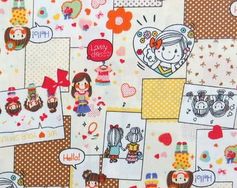 2639C-- Smile Girl Patchwork Fabric Yellow/Brown in White, Flower, Heart, Tiny Dots, Girl Fabric