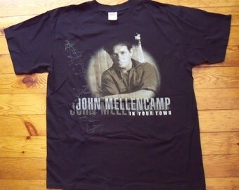 John Mellencamp In Your Town Tour Black T-shirt Large