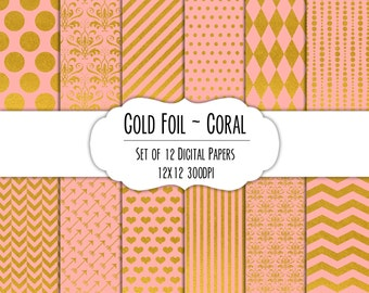 Gold Foil & Coral Digital Scrapbook Paper 12x12 Pack - Set of 12 - Polka Dots, Chevron, Damask - Instant Download - Item# 8265