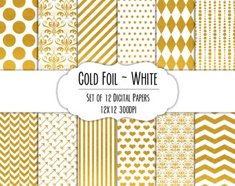 Gold Foil & White Digital Scrapbook Paper 12x12 Pack - Set of 12 - Polka Dot, Chevron, Damask - Instant Download Item#8269