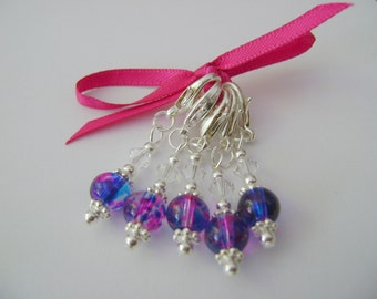 Capri Orchid Stitch Markers for Knitting or Crochet