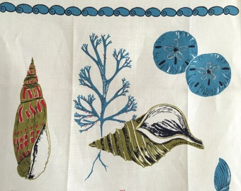 Vintage Towel Seashells Sea Fans Coral Nautical Virginia Zito