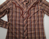 1970's womens plaid pearlsnap western shirt with decorative yoke and gold lame detail size SMALL/MEDIUM