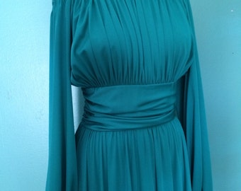 Teal green off the shoulder maxi dress size MEDIUM