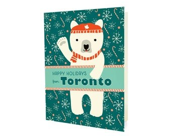 Polar Toronto Folded Holiday Cards, Box of 10 - Toronto Christmas Cards - Happy Holidays from Toronto - OC1174-TOR-BX