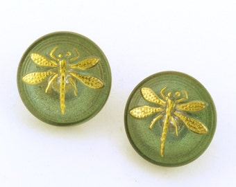 Czech Glass Dragonfly Button Pair 18mm Green with Gold Accents
