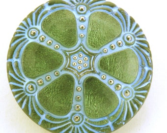 Czech Glass Iridescent Green Wheel Button 27mm with Subtle Turquoise Blue Accents