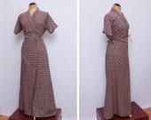 cotton maxi wrap robe dress - block print